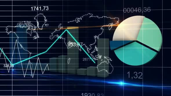Thumbnail for World Map Statistic Data Graph Dark Blue Loop Finance Background