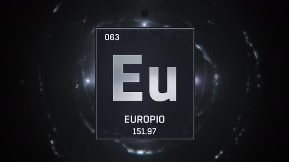 Europium as Element 63 of the Periodic Table on Silver Background in Spanish Language