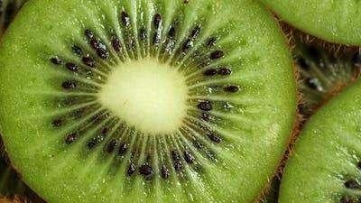 A Lot of Sliced Kiwi Rotating