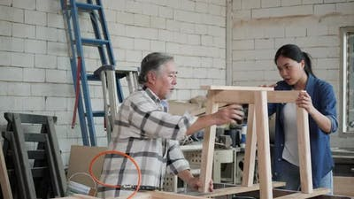 Senior man and woman fit wood
