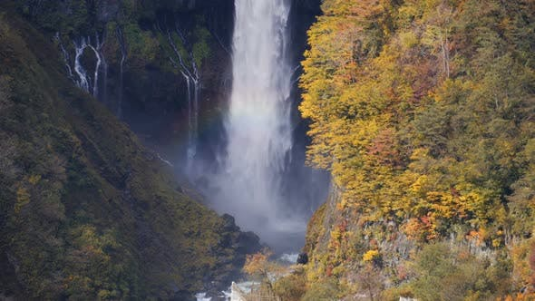 Thumbnail for Waterfall With Rainbow In Autumn