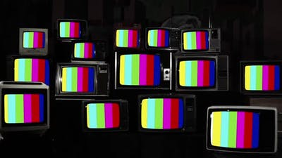 Old Retro Television Test Signal on Vintage Televisions.