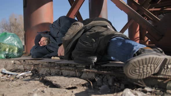 Thumbnail for Feet of Homeless Man Sleeping Outdoors
