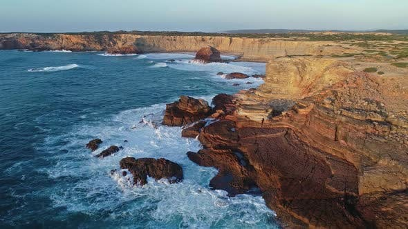 Thumbnail for Aerial of Atlantic Coast with Rocks in Portugal