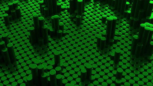 Abstract green metallic chrome background with cylinders