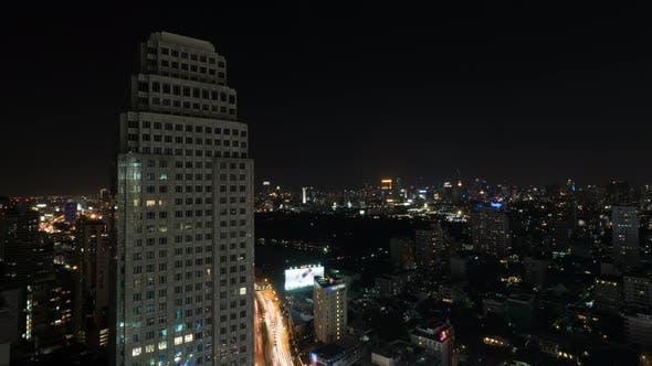 Timelapse of Night City of Bangkok, Thailand