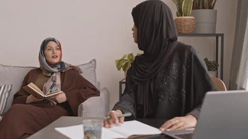 Muslim Businesswomen Working from Home