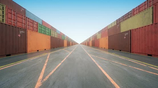 Cover Image for Endless Rows of Cargo Shipping Containers under Blue Sky