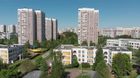 The Cityscape in Moscow From Above, Residential Buildings, School and Kindergarten. Russia