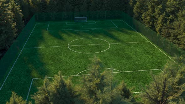 Football Field in the Middle of the Forest Top View