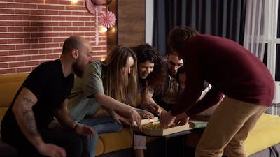 Five Friends are Eating Indoor Pizza Home Party