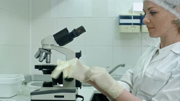Thumbnail for Researcher Putting on Gloves and Using a Microscope in a Laboratory