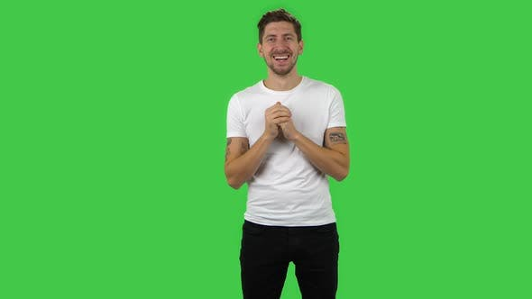 Thumbnail for Confident Guy Is Looking Straight and Rejoicing. Green Screen