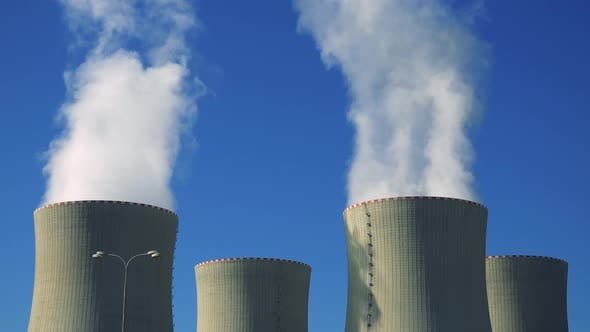 Thumbnail for Nuclear Power Station (Four Chimneys) - Smoke From Smokestacks