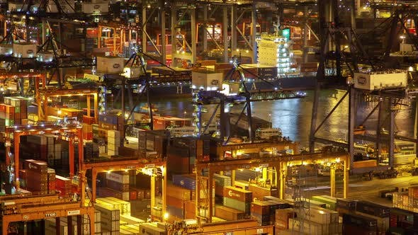 Thumbnail for Timelapse Hong Kong Cranes and Equipment Load Cargo Vessels