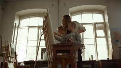 Contemporary Family Painting on Easel