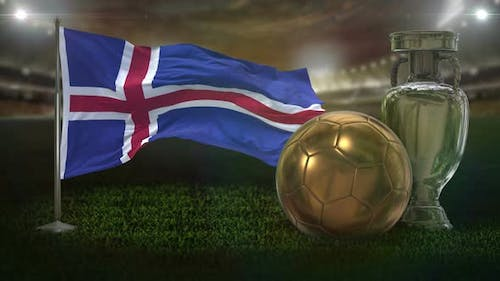 Iceland Flag With Football And Cup Background Loop