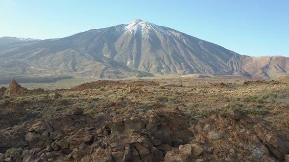 Aerial View of Teide Volcano, Tenerife, Canary Islands, Spain. Flight Over Volcanic Desert Facing
