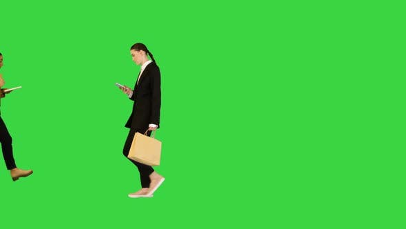 Flow of Young Office Workers Multiracial on a Green Screen Chroma Key