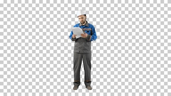 Engineer Man Verify and Read Files Documents, Alpha Channel
