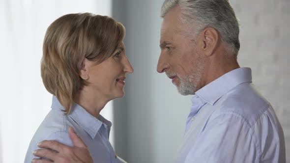 Thumbnail for Elderly Male and Female Looking at Each Other, Putting Foreheads Together, Happy