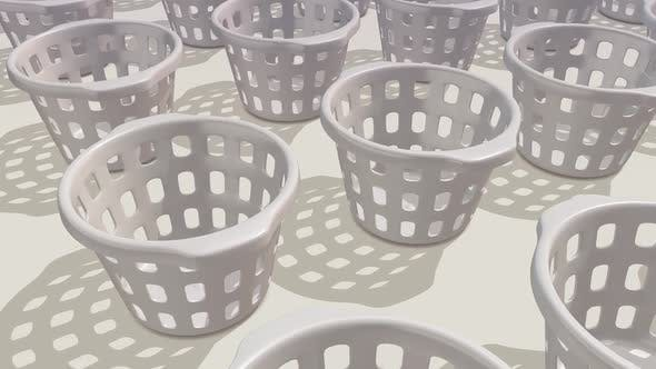 Multiple White Plastic Laundry Baskets In A Row Hd