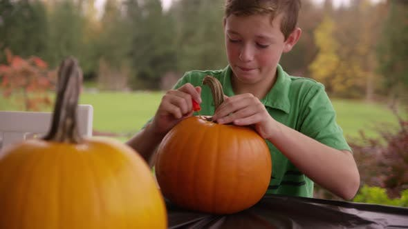 Thumbnail for Boy carving pumpkin for Halloween