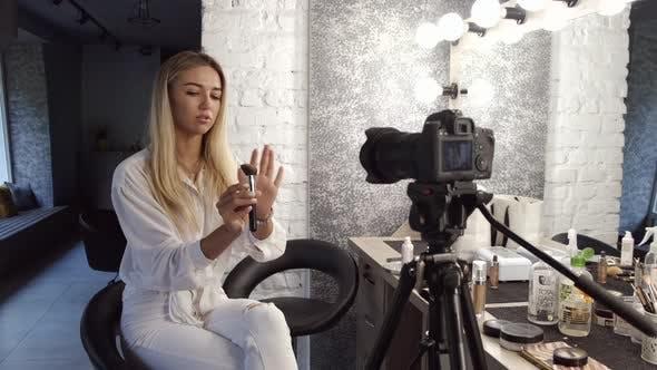 A Makeup Artist Is Filming a Beauty Blog