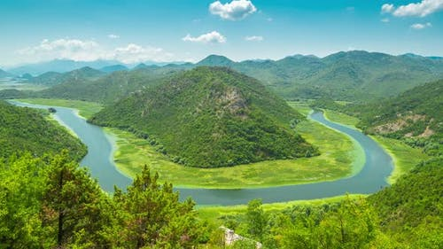 Canyon of Rijeka Crnojevica River Near the Skadar Lake Coast