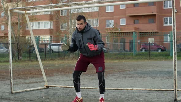 Thumbnail for Soccer Goalkeeper Standing in Ready Position on Outdoor Field