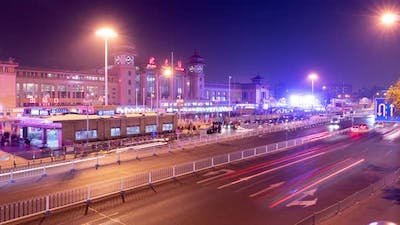 Night time lapse of the exterior of the Beijing Train Station