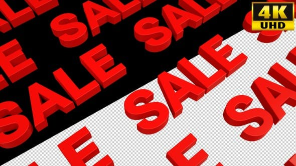 Red Sale Text With Alpha Channel Loops Pack V1