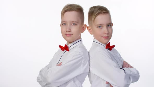 Cover Image for Caucasian Identical Twins Posing in Studio
