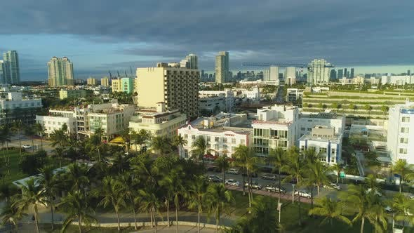 Miami Beach and Downtown. Urban Skyline. Aerial View