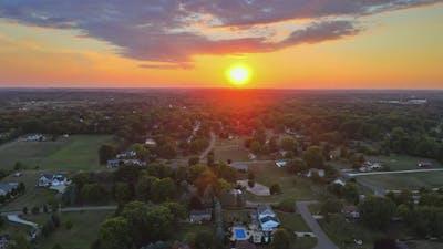 View of American Countryside Landscape Farmland Farm on Skyline Sunset in Akron Ohio