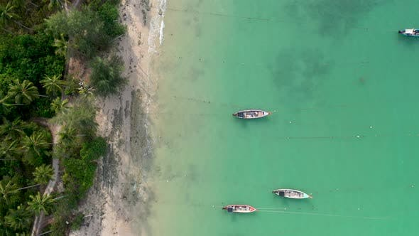 Thumbnail for Aerial drone view of traditional longtail boats moored off a tropical beach