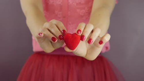 Female is holding little red heart in hands. Valentine's Day concept