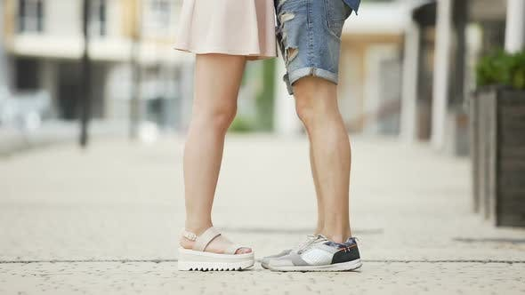 Cover Image for Legs of Young Man and Woman Approaching Each Other, Romantic Relationship, Date