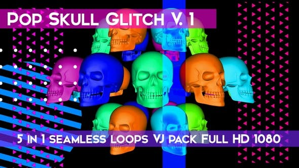Thumbnail for Skull Pop Glitch V.1 VJ Loops