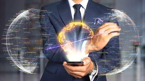 Businessman Hologram Concept Economics   Globalization