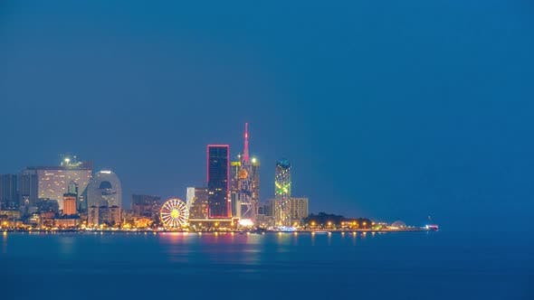 Thumbnail for Amazing timelapse of Batumi city skyline. day to night time lapse of Batumi