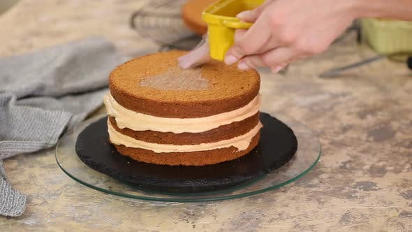 Thumbnail for Unrecognizable female confectioner hand soaks sponge cake with sweet caramel syrup