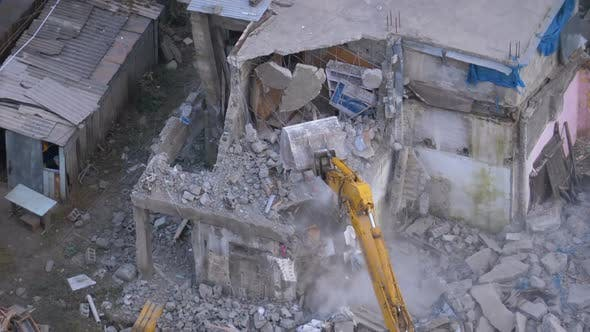 Thumbnail for Destroying Old House Using Bucket Excavator on Construction Site.