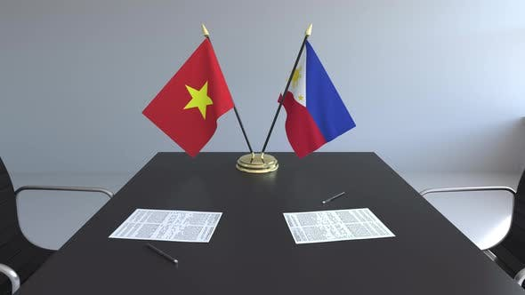 Thumbnail for Flags of Vietnam and the Philippines and Papers