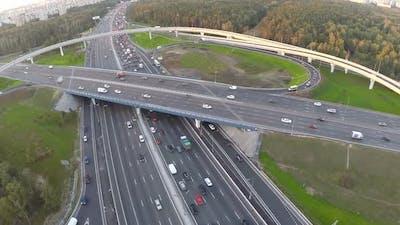Aerial shot of traffic on multilevel interchange