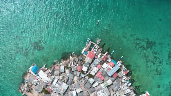 Aerial Footage of Santa Cruz Del Islote the Most Populated Island in the World