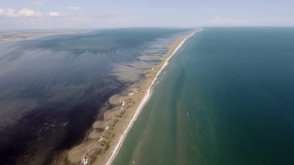 Thumbnail for Aerial Shot of a Straight Sandspit at the Black Sea Shoal on Sunny Day in Summer