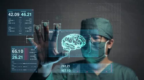 Surgeon Accessing Brain Patient Data by Finger Print. Future Medical Concept