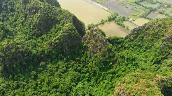 Thumbnail for Aerial view of Ninh Binh region Tam Coc valley, Vietnam, travel destination.