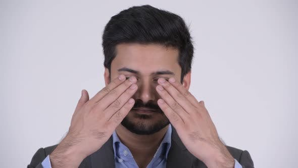Thumbnail for Young Handsome Bearded Indian Businessman Covering Eyes As Three Wise Monkeys Concept